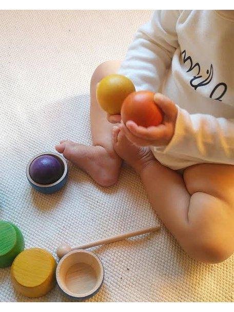 Grapat Houten bakjes en ballen gekleurd
