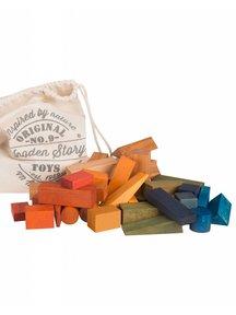 Wooden Story Zak met 50 xl blokken - regenboog