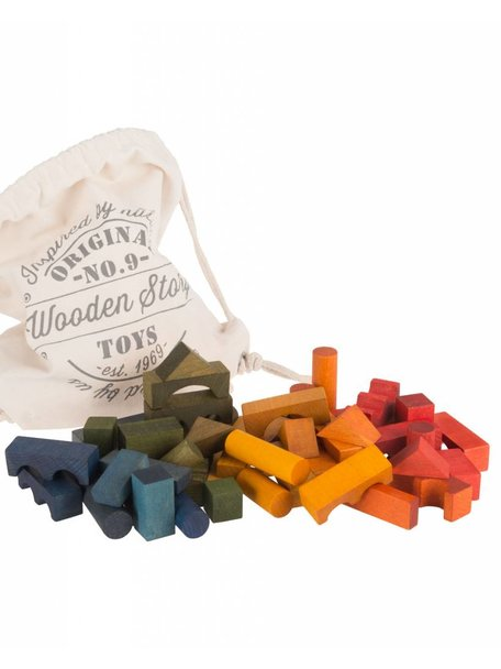 Wooden Story Rainbow Blocks in Sack 100 pieces