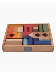 Wooden Story Houten speelgoed blokken in bak - regenboog