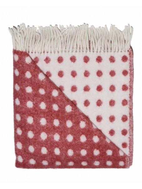 Mara Wollen ledikantdeken met stippen 100 x 140cm - rood
