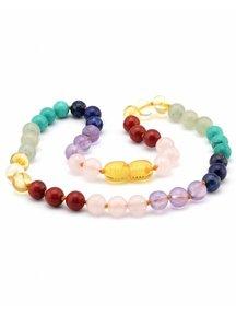 Amber Baby ketting 32cm met edelstenen gemstones3