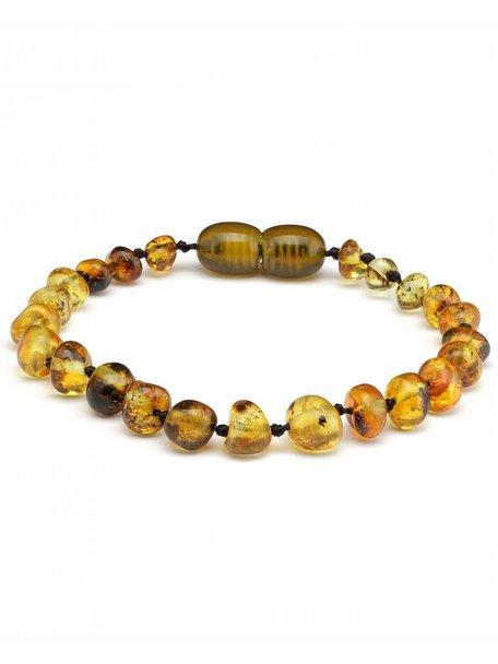 Amber Barnsteen kinder armband 16,5cm - olive
