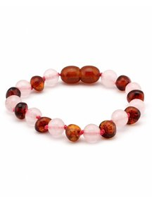 Amber Amber Baby Bracelet with gemstones 14cm - Rose Quartz/cognac