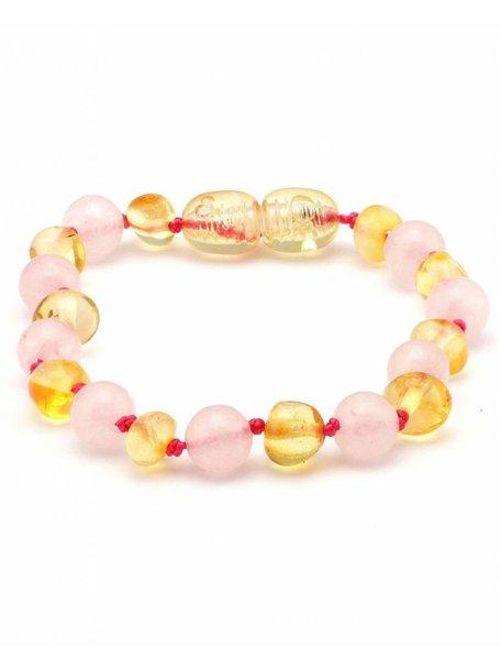 Amber Barnsteen baby armbandje met edelstenen 14cm - rozenkwarts/lemon