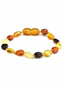 Amber Amber Baby Bracelet 14cm - multi colour 4 oval