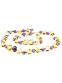 Amber Amber Baby Necklace with gemstones 32cm - amethist/lemon