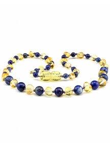 Amber Amber Baby Necklace with gemstones 32cm - lapis lazuli/lemon