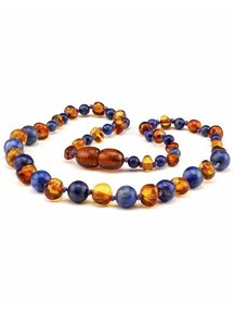 Amber Amber Baby Necklace with gemstones 32cm - lapis lazuli/cognac