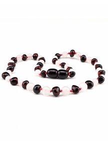Amber Amber Baby Necklace with gemstones 32cm - Rose Quartz/cherry