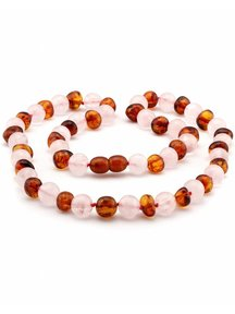 Amber Amber Baby Necklace with gemstones 32cm - Rose Quartz/cognac