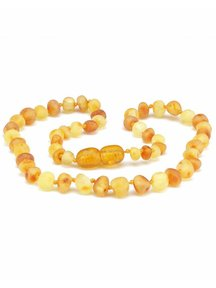 Amber Barnsteen baby ketting 32cm - honey/lemon raw