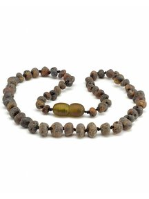 Amber Amber Baby Necklace 32cm - olive raw