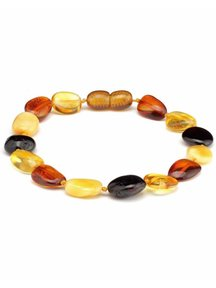 Amber Barnsteen dames armband 19cm - multi colour ovaal