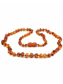 Amber Amber Ladies Necklace Extra long 64cm - cognac