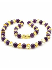 Amber Amber Ladies Necklace with gemstones 45cm - amethist/lemon