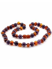 Amber Amber Ladies Necklace with gemstones 45cm - amethist/cognac