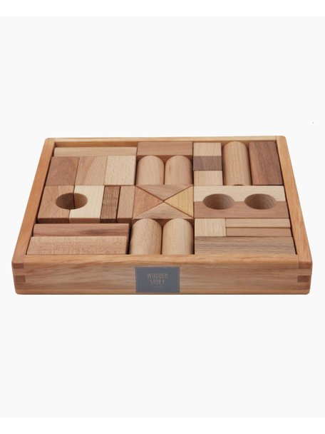 Wooden Story Natural Blocks in Tray