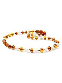 Amber Baby Necklace with gemstones 32cm - moonstone/Cognac