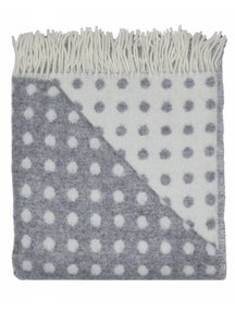 Mara Woolen Blanket With Dots 100 x 140cm - grey