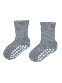 Hirsch Natur Wollen sokken met anti-slip stippen - grijs