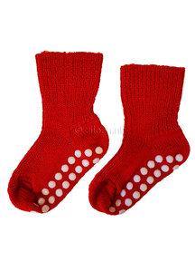 Hirsch Natur Wool Socks Anti-Slip Dots - red