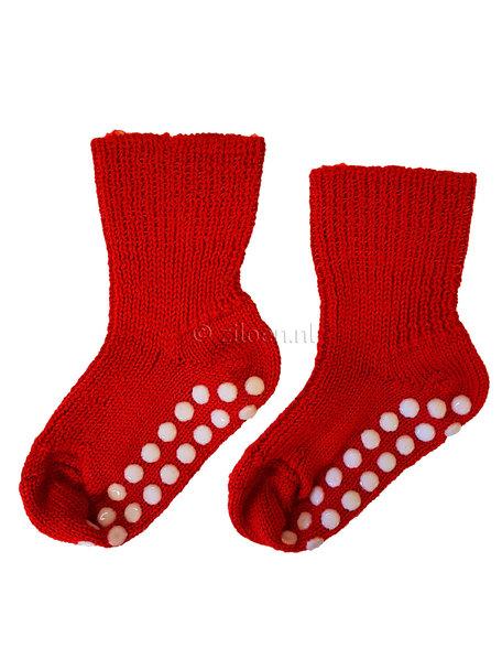 Hirsch Natur Wollen sokken met anti-slip stippen - rood