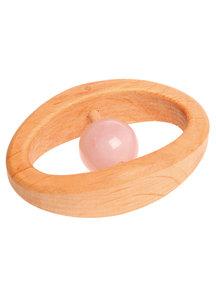 Grimm's Houten rammelaar met edelsteen - Roze