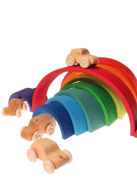 Grimm's Houten speelgoed auto's 6 stuks -  Regenboog