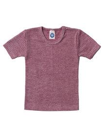 Cosilana Kindershirt korte mouwen van wol/zijde/katoen - wijnrood