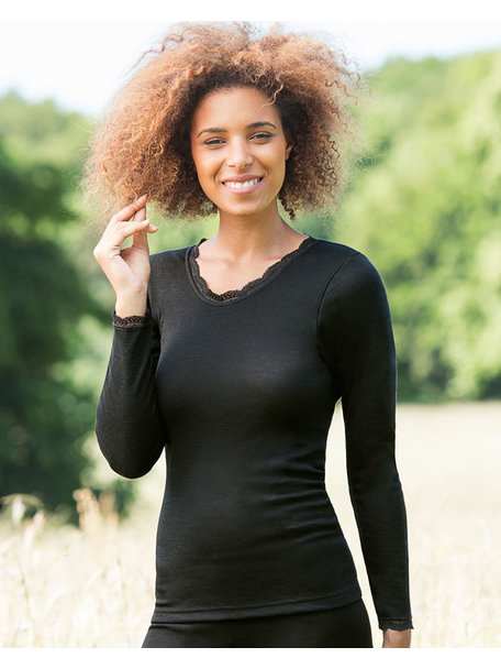 Engel Natur Hemd met kantje en lange mouwen - zwart