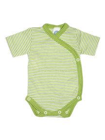 Cosilana Striped Body Wrap Short Sleeves Wool Silk - green