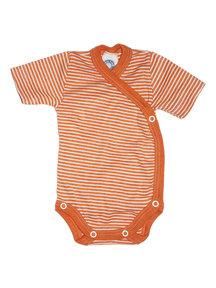 Cosilana Striped Body Wrap Short Sleeves Wool Silk - orange
