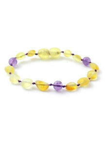 Amber Amber Baby Bracelet with gemstones 14cm - amethist/lemon