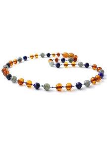 Amber Amber Kids Necklace with Gemstones 36cm -  labradorite/lapis lazuli/cognac