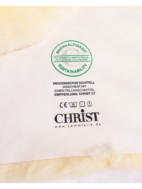 Christ Ledikant lamsvacht medicinaal gelooid - 60 x 120 cm