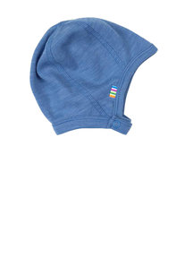Joha Wool bonnet with button - blue