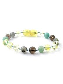 Amber Amber Baby Bracelet with gemstones 14cm - labradorite/quartz/amazonite