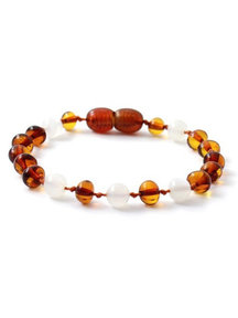 Amber Amber Ladies bracelet with Gemstones 18cm - Cognac/Moonstone