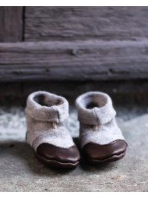 Cami Woolen Booties Leather Sole - beige - Copy
