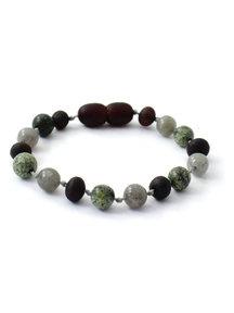 Amber Barnsteen kinder armband met edelstenen 16cm - Labradorite/Green Lace Stone