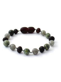 Amber Amber Baby Bracelet with gemstones 14cm - Labradorite/Green Lace Stone
