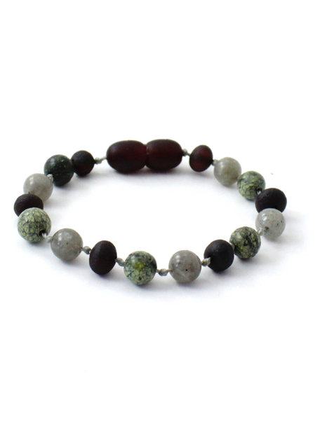 Amber Amber Baby Bracelet with gemstones 14cm - Labradorite/Green Lace Stone