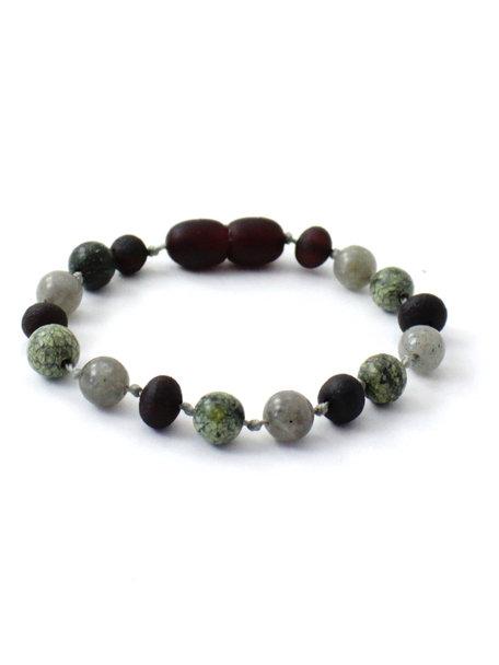Amber Barnsteen baby armbandje met edelstenen 14cm - Labradorite/Green Lace Stone
