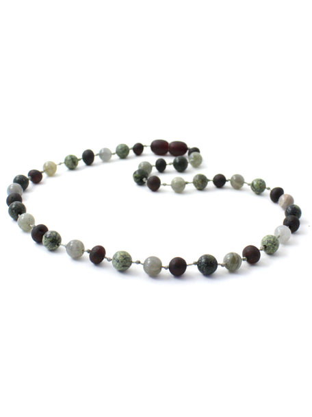 Amber Amber Kids Necklace with Gemstones 36cm -  Labradorite/Green Lace Stone