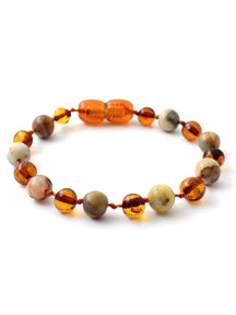 Amber Amber Baby Bracelet with gemstones 14cm - Agate/cognac