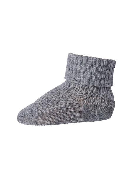 MP Denmark Wool Rib Turn Down Socks - grey