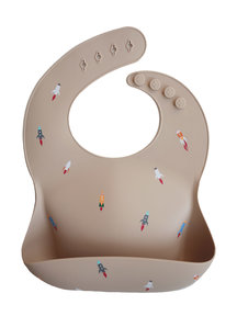 Mushie Silicone Baby Bib - rocket ship