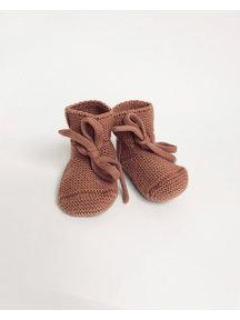Hvid Fine Knitted Merino Booties - Brick