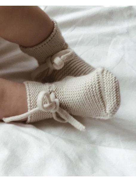 Hvid Slofjes van merino wol - off white